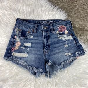 AEO High Rise Festival Floral Distressed Shorts